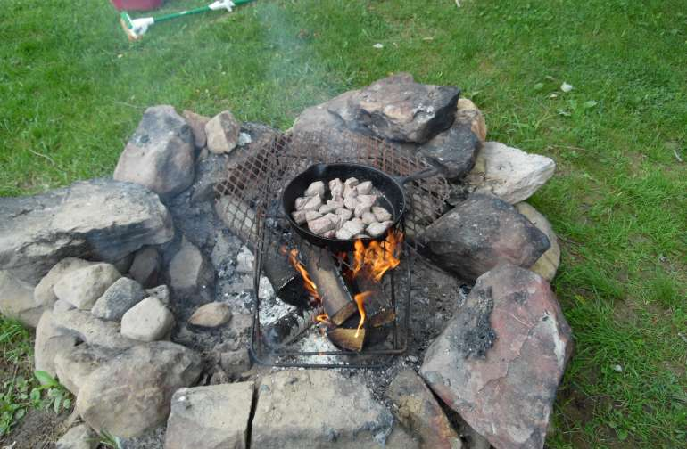 Cooking on an open fire....