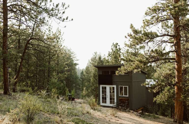 The cabin is tucked away in the pine trees