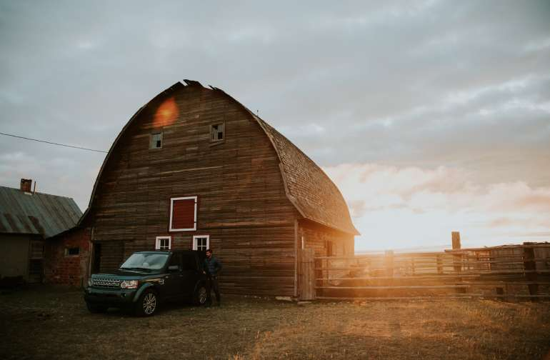 Slide up next to the barn and pitch a tent to watch the sunrise