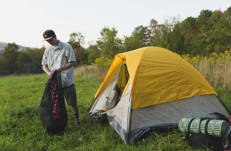 My tent's color sorta matched all the goldenrod that was around.