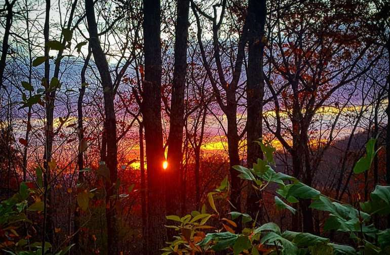 Sunrise in the fall! This section of the Blue Ridge is known for vibrant colors in the fall and gorgeous sunrises and sunsets!
