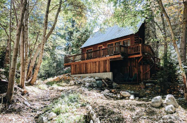 View of the cabin from the creek