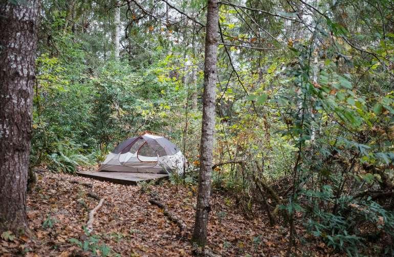 The tent platform.