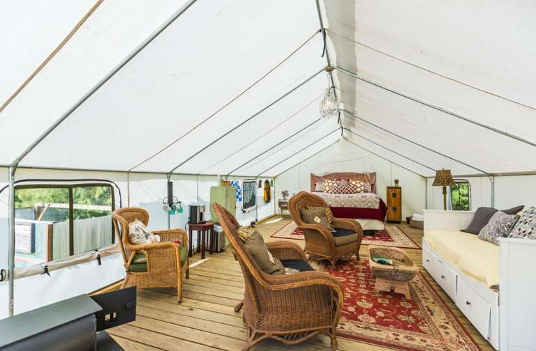 The inside of Glamping Tent
