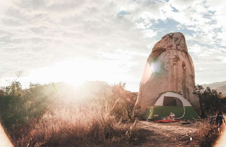 Hawk Rock campsite at Saddle Up Ranch is named that because of the giant rock that looks like a hawk.