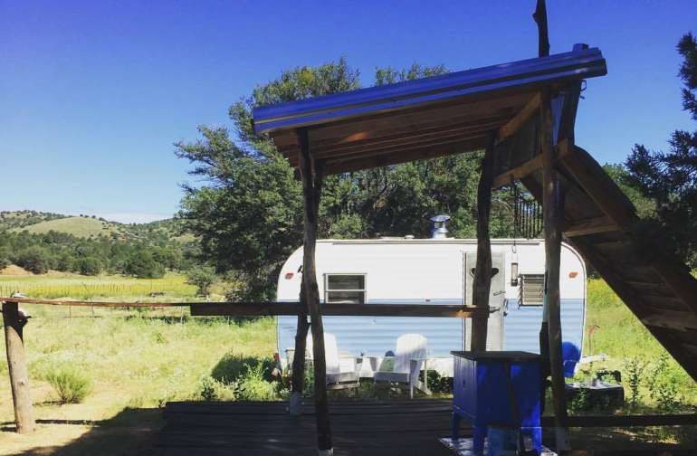 Camper on Small Mountain Farm