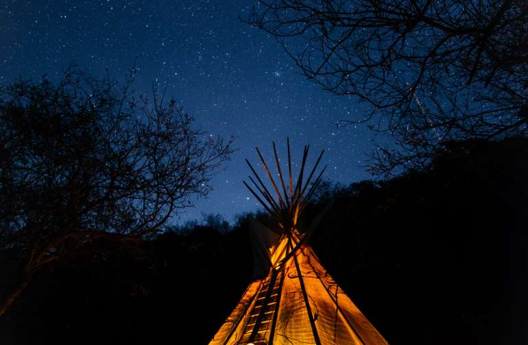 the 16' tipi at night