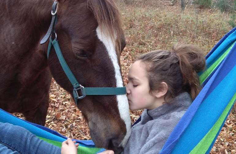 Relax in the silence of nature in the hammocks and suggle w the horses.