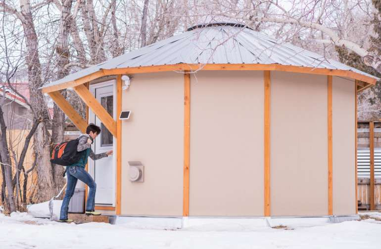 This is not a canvas yurt but a complete stick build version with solar, gas and cooking amenities.