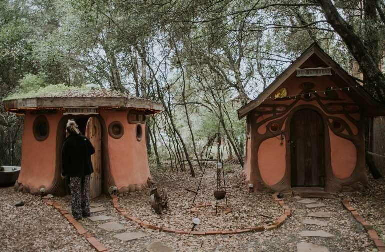 The Hobbit Hut and Gingerbread house are next door neighbors!