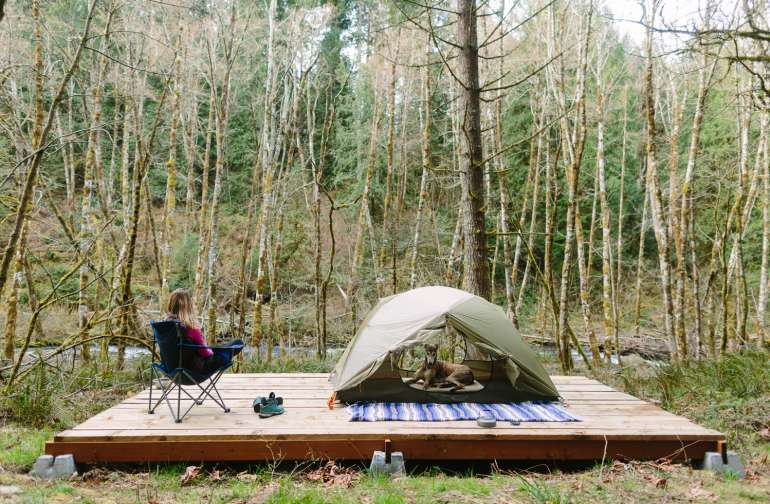 Option to pitch your tent on the deck for a dry campsite with a view