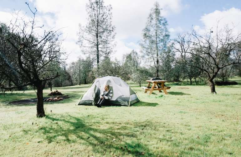 There's lots of space at Roadrunner Farm to pitch your tent with friends. It was like having your own private campground.