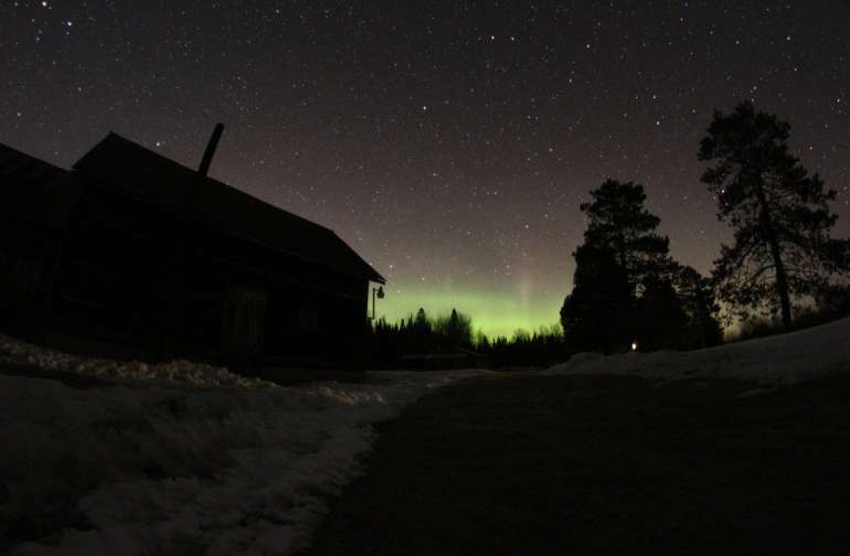 The northern lights out by our barn. March 2018