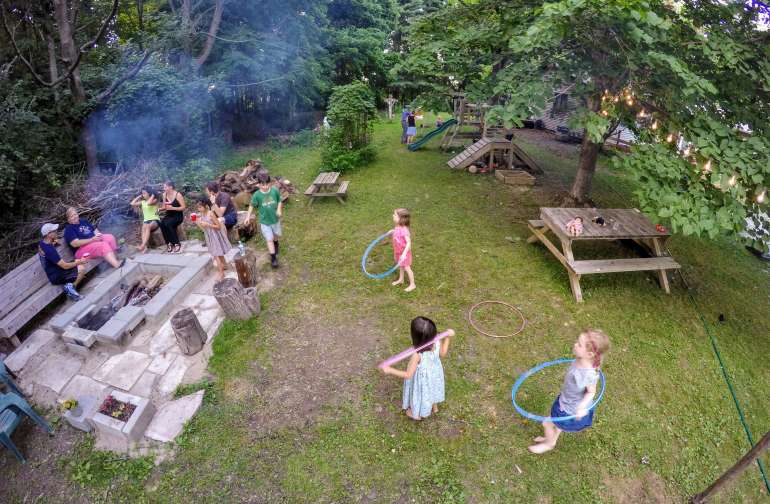 One of our many get-together with family and friends. The kids love roasting marshmallows just about every night of the summer. Also, we just added a trampoline!