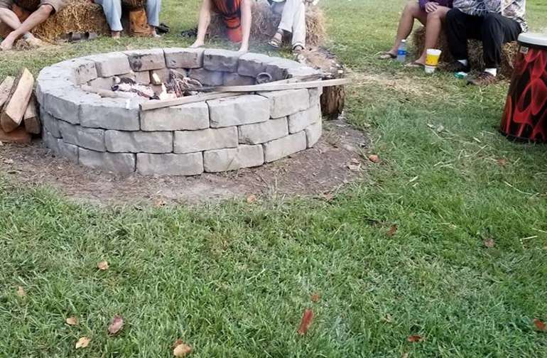 Drumming around the Community Fire Pit