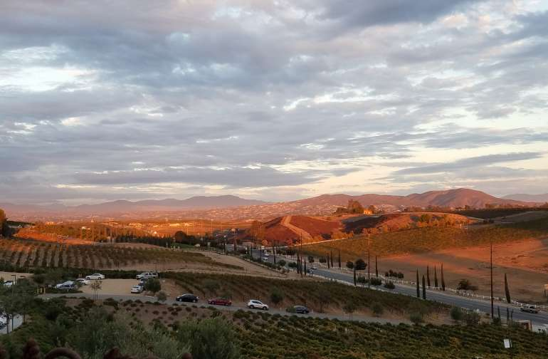 Sunset from the patio at Miramonte winery. They are very dog friendly and allow dogs in the tasting room.