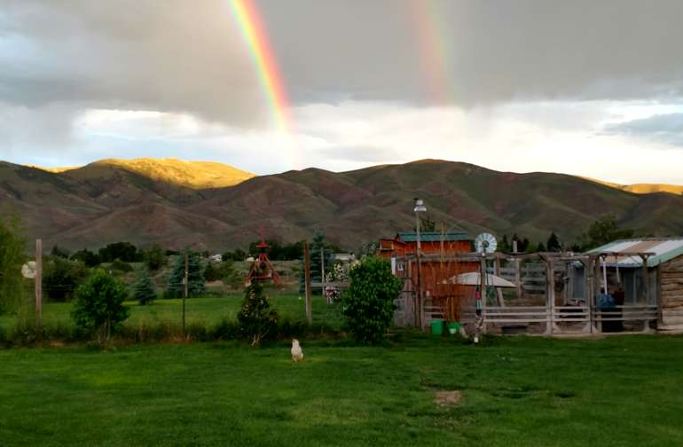 A rare double rainbow looking to the west from our Big Backyard in early spring.