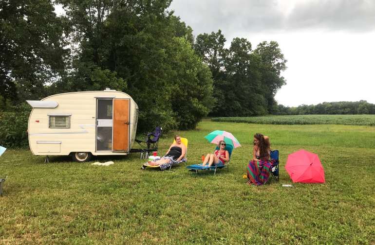 "Vintage Camper Group came for a ""falling star"" camp-out.  Tenters and Campers together!"
