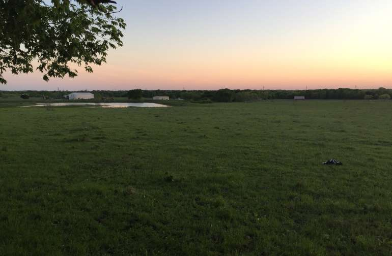 View from our meadow tent site overlooking the small lake at Ironwood Ranch.
