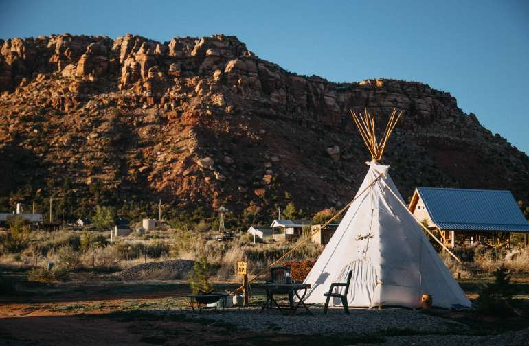 mountain lodging teepee