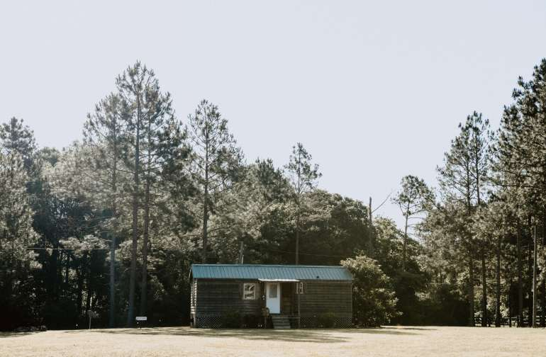 The setting for the Country Cabin is absolutely perfect. Check out the pine trees back there!