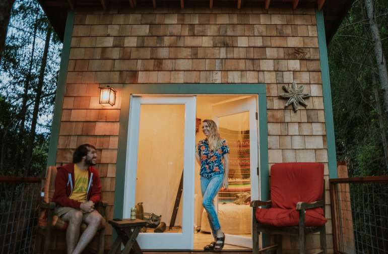 Front porch of the Casita, perfect for enjoying a warm evening in the Santa Cruz mountains.