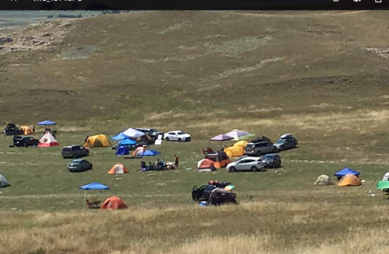 Tent camping on the northwest Nebraska plains, 1 mile east of Agate Fossil Beds National Monument. Unobstructed view of the sky. Flushable toilet on site.