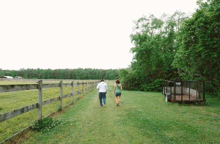 Walking around on the property with our host, Tony.