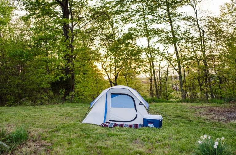 The wide open area for camping is flat and perfect for pitching a tent!