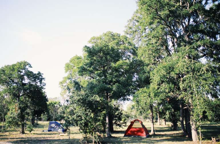 You can camp anywhere you want out on the property away from RVs and Cabins for lots of privacy.