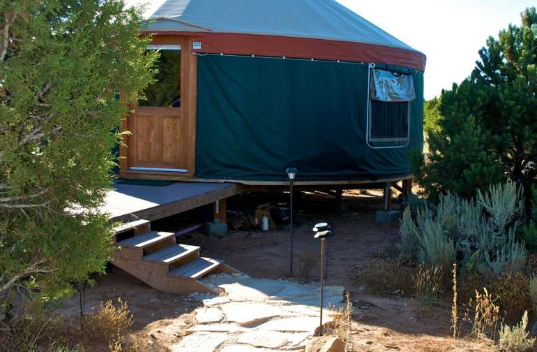 Yurt Stone Walkway with large front patio/deck