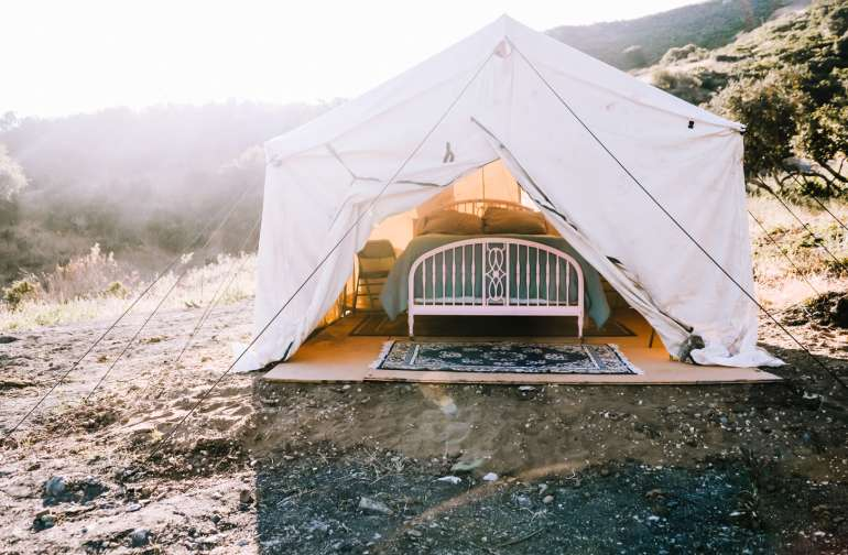 The tent in the gorgeous morning light...