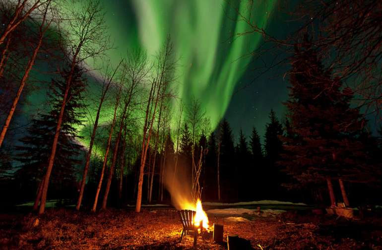The Aurora Borealis over the firepit