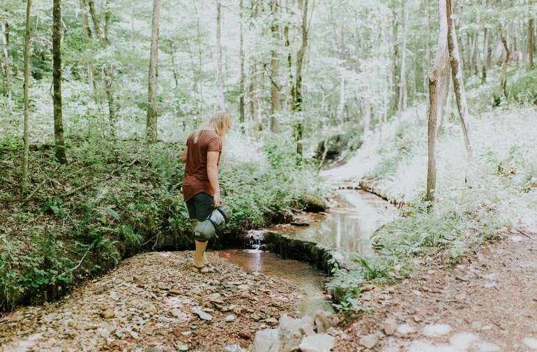 The campsites are right along a perfect little creek.