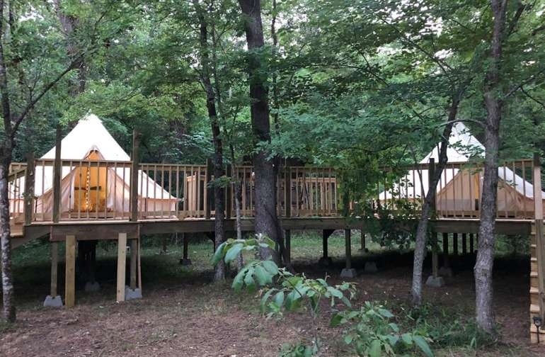 Layla's Dream and Irish Spring - wheelchair accessible tents (also share a porch swing).
