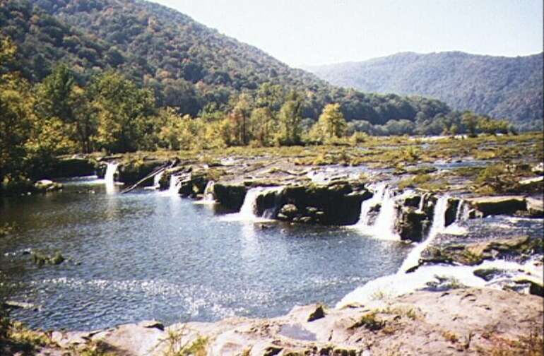 breath-taking view of nearby Sandstone Falls