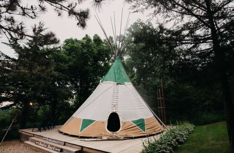 The tipi accommodations.