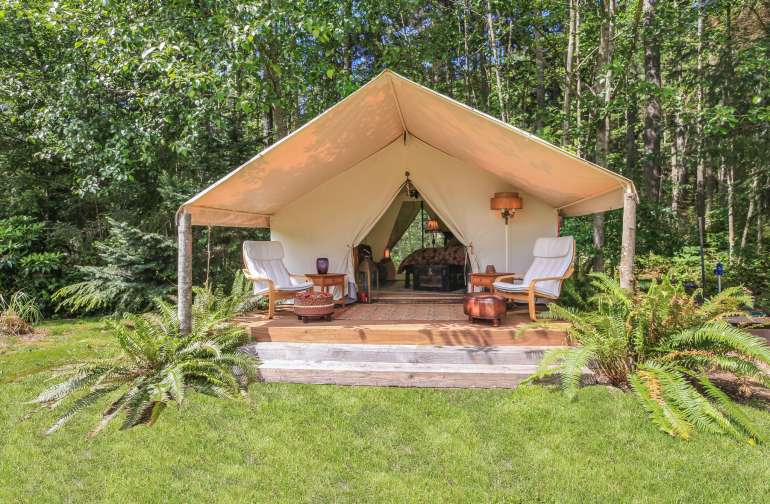 """Our unique """"Glamping"""" Wall Tent on beautiful Whidbey Island, WA."""