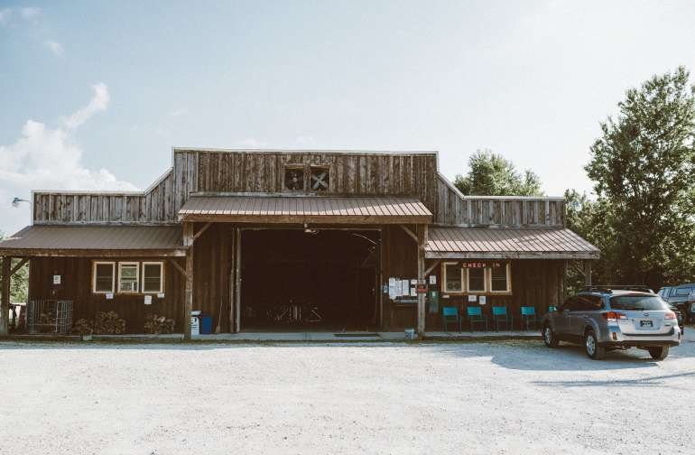 The hangar where the indoor camping is located.