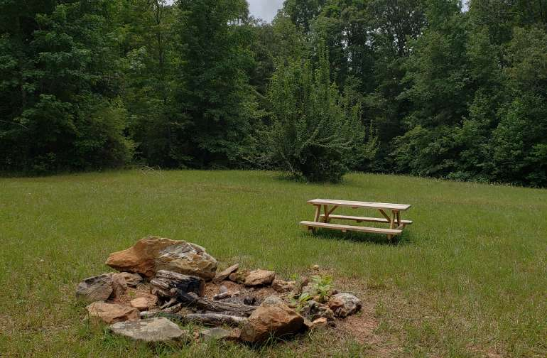 Picnic table and fire pit for your use