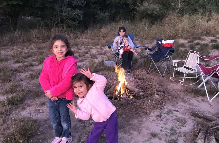 A campfire on a cool evening is enjoyable any place outdoors.