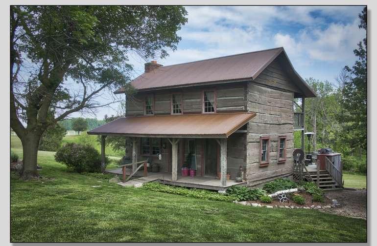 Vintage 1850 Log Cabin Camping