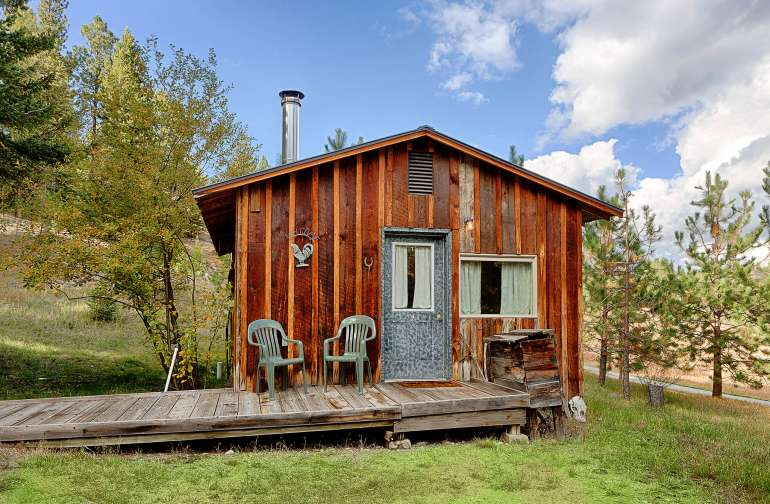 The exterior of a cabin.