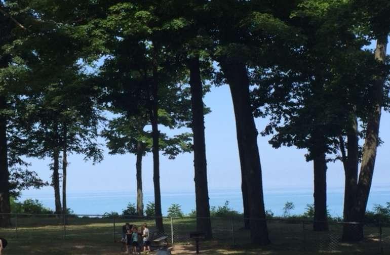 View of Lake Michigan from Hagar Shores Park