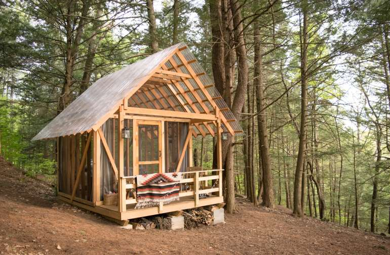 Open-air cabin in the forest