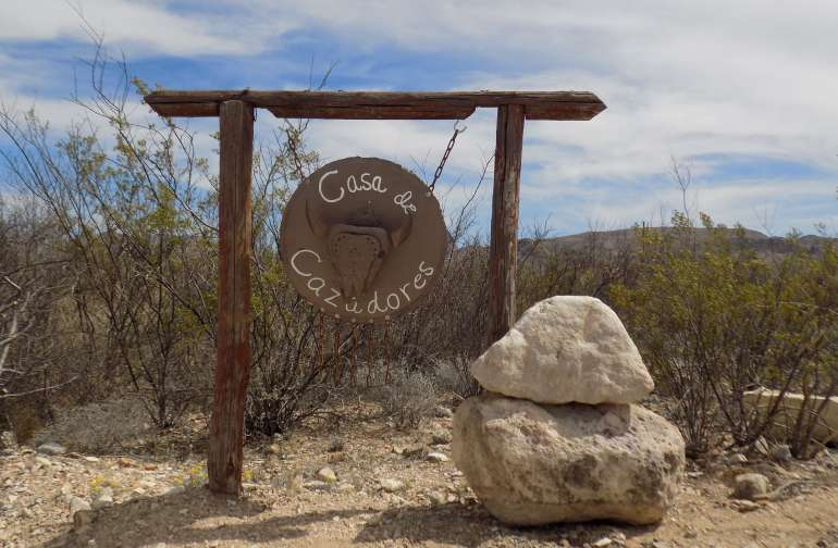 Sign on Terlingua Ranch Road that marks driveway.