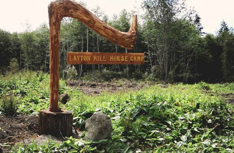 Camp entrance sign.