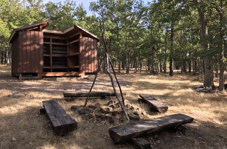 Adirondack shelter & firepit