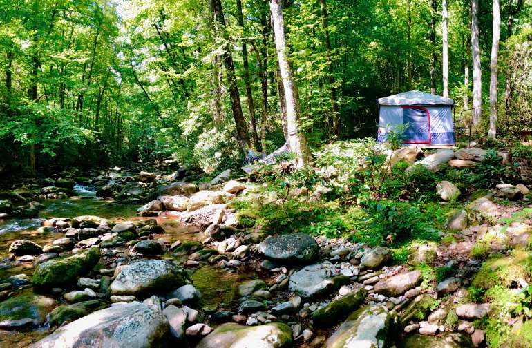 Glamping at the base of Mt Mitchell