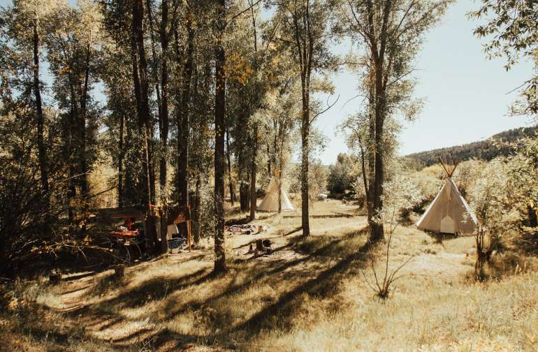 the camping area/communal kitchen is large and secluded from the rest of the property